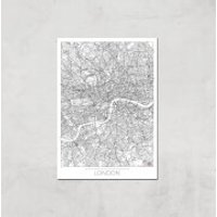 City Art Black and White Outlined London Map Art Print - A3 - Print Only