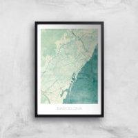 City Art Coloured Barcelona Map Art Print - A2 - Wood Frame