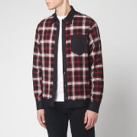 Dsquared2 Men's Cotton and Check Bowling Shirt with Logo Print On Back - Black/Red/White - IT 46/S -