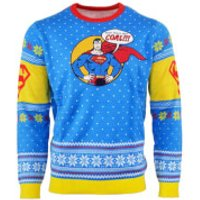 Superman 'Bad Guys Get Coal' Knitted Christmas Jumper - M - Knitted Gifts