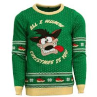 Crash Bandicoot Knitted Christmas Jumper - XL - Knitted Gifts