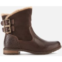 Barbour Women's Jessica Leather/Suede Buckle Flat Boots - Wine - UK 3 - Brown