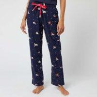 Joules Women's Snooze Xmas Dogs Pyjama Bottoms - Navy - UK 6