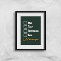 Champagne Tick Box Art Print - A3 - No Hanger - Champagne Gifts