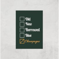 Champagne Tick Box Art Print - A3 - Print Only - Champagne Gifts