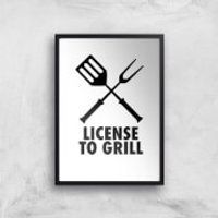 License To Grill Art Print - A2 - Wood Frame