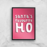 Santa's Favourite Ho Art Print - A4 - Black Frame