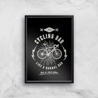 Cycling Dad Art Print - A2 - Wood Frame