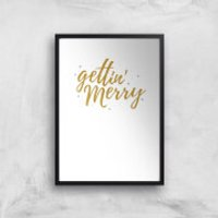 Gettin' Merry Art Print - A3 - White Frame