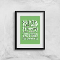 Santa Saw Your FB Photos Art Print - A3 - Photos Gifts