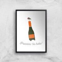 Prosecco-ho-ho Art Print - A4 - White Frame