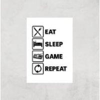 Eat Sleep Game Repeat Art Print - A3 - Print Only - Sleep Gifts