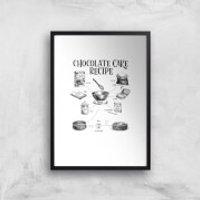 Chocolate Cake Recipe Art Print - A3 - Black Frame