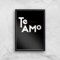 Te Amo Block Art Print - A3 - Wood Hanger