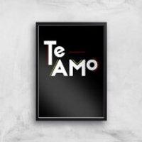 Te Amo Block Art Print - A3 - Wood Hanger