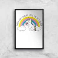 Happier Than A Unicorn Eating Cake Art Print - A3 - No Hanger - Eating Gifts