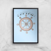Captain Of The Ship Art Print - A3 - Wood Frame