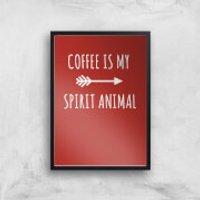 Coffee Is My Spirit Animal Art Print - A4 - Wood Frame