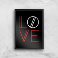 Love Geo Art Print - A4 - White Frame