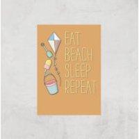 Eat Beach Sleep Repeat Art Print - A4 - Print Only - Beach Gifts