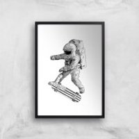 Kickflip In Space Art Print - A4 - Black Frame