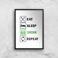Eat Sleep Game Repeat Art Print - A4 - Wood Frame - Game Gifts