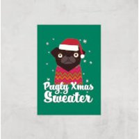 Pugly Xmas Sweater Art Print - A4 - Print Only