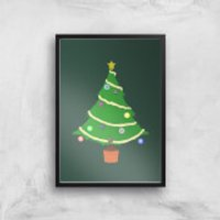 Buttons Tree Art Print - A3 - White Frame