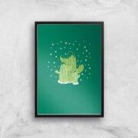 Cactus Trio Art Print - A3 - Wood Hanger - Wood Gifts
