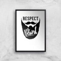 Respect The Beard Art Print - A3 - Wood Hanger - Wood Gifts
