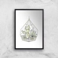Succulent Terrarium Art Print - A3 - Wood Hanger - Wood Gifts