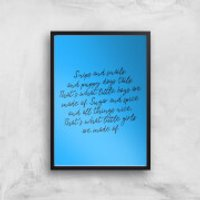 Snips And Snails Rhyme Art Print - A3 - Wood Frame