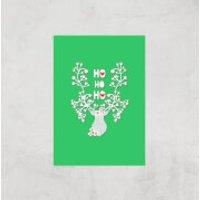 Ho Ho Ho Reindeer Art Print - A4 - Print Only - Reindeer Gifts