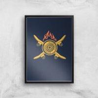 Skateboards On Fire Art Print - A3 - Wood Frame