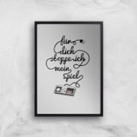 I'd Pause My Game For You (DE) Art Print - A4 - Wood Frame - Game Gifts