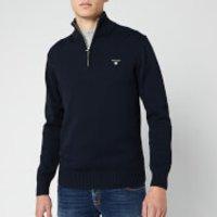 GANT Mens Cotton Half Zip Knit Jumper - Evening Blue - L - Blue