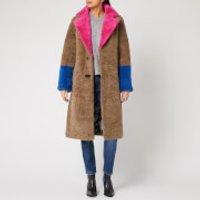 Saks Potts Women's Febbe Bold Shearling Coat - Beige/Pink/Strong Blue - 1/UK 8