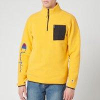 Champion Men's Sleeve Script Half Zip Top - Yellow - XL