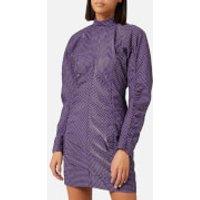 Ganni Women's Seersucker Check Dress - Deep Lavender - EU 36/UK 8