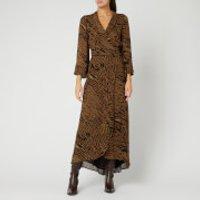 Ganni Women's Printed Georgette Wrap Dress - Tiger - EU 36/UK 8