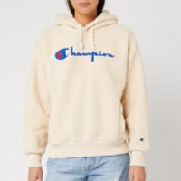 Champion Women's Shearling Big Script Hooded Sweatshirt - Cream - L