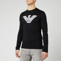 Emporio Armani Men's Long Sleeve Large Eagle T-Shirt - Black - L