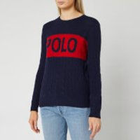 Polo Ralph Lauren Women's Juliana Logo Long Sleeve Sweater - Hunter Navy/Fall Red - L