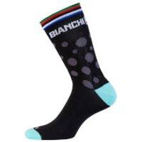 Bianchi Diaterna Socks - S/M - Black/Celeste Polka