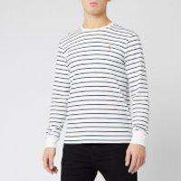 Polo Ralph Lauren Men's Long Sleeve Stripe T-Shirt - White/French Navy - XXL