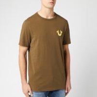 True Religion Men's Metallic Gold Buddha T-Shirt - Military Green - S