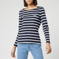 Barbour Women's Hawkins Breton Stripe Long Sleeve Top - Navy/White - UK 8