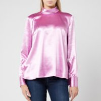 HUGO Women's Cayanas Satin Long Sleeve Top - Light/Pastel Purple - UK 8