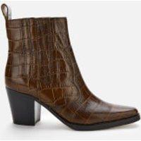 Ganni Women's Leather Croc Heeled Western Style Boots - Chicory Coffee - UK 5