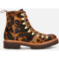 Grenson Women's Nanette Leopard Print Pony Hiking Style Boots - Brown - UK 4